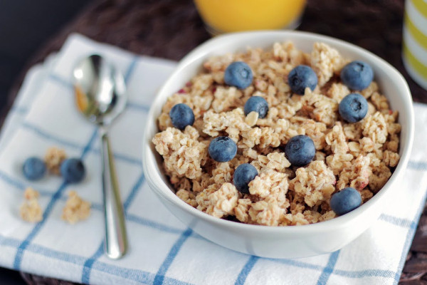 Bowl of Oats and Blueberries