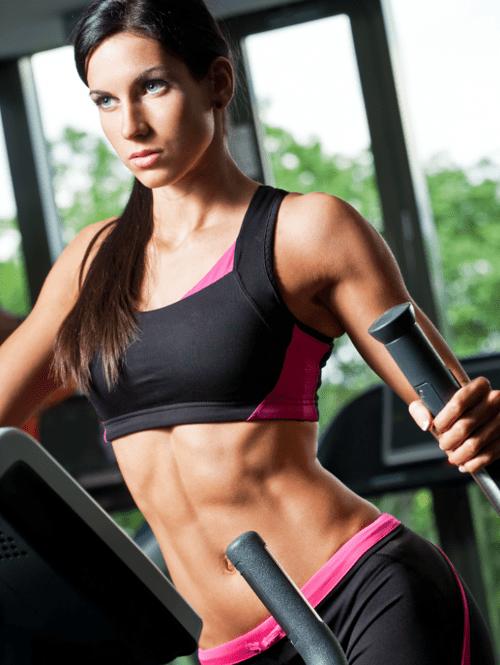 Woman Training Elliptical